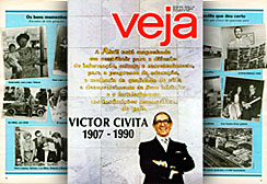 The cover of Veja magazine, published shortly after the death of Victor Civita. The report highlighted the legacy of the entrepreneur