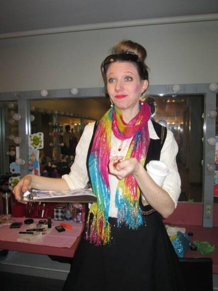 "Joni Hayden-Summerton (""Petra"") prepares to go on stage."