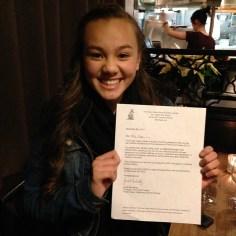Keira Jang with her newly won Gary McGill Scholarship! Congratulations, Keira!