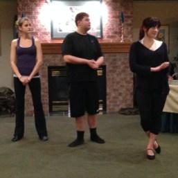 """Michelle Gaetz (""""Misha""""), Croy Jenkins (""""Dame Olga"""") and Kate Naylor (""""Katya"""") rehearse a scene."""