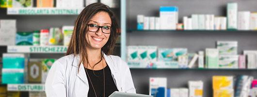 Female pharmacist wearing a lab coat