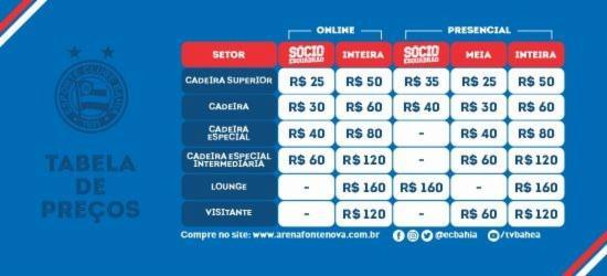 Os preços variam entre R$ 25 (cadeira/meia) e R$ 160 (lounge)