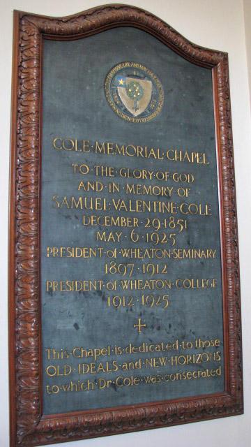 Cole Chapel, Memorial Plaque