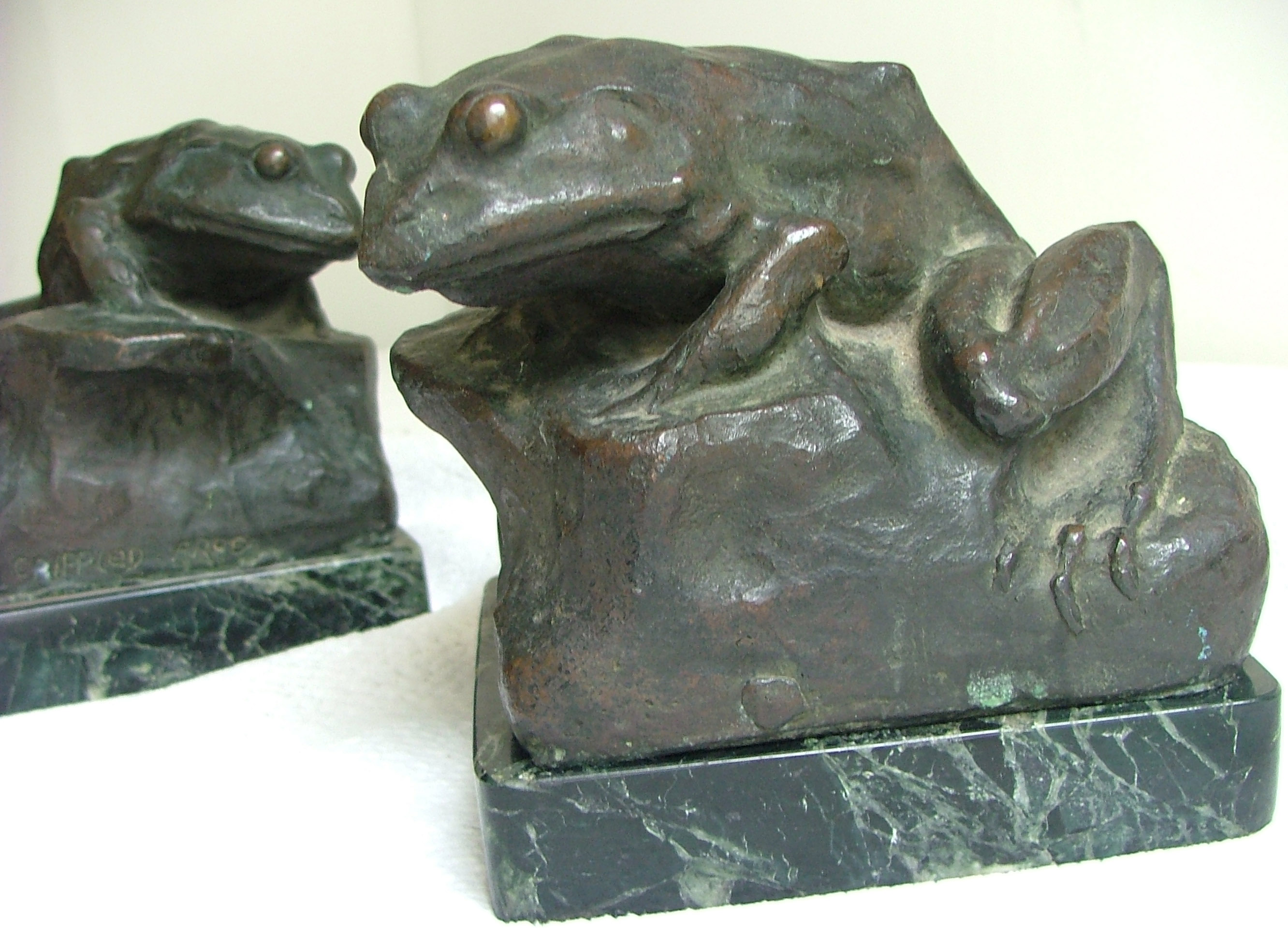 Crippled Frog Bookends Bronze 1914 Frederick Warren Allen