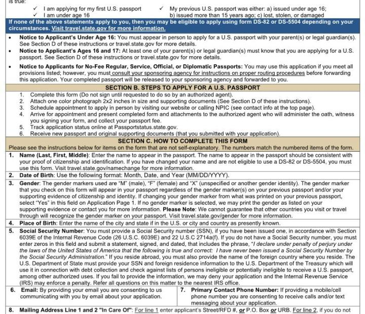 Passport Card Application Form Ds 11 Poemview