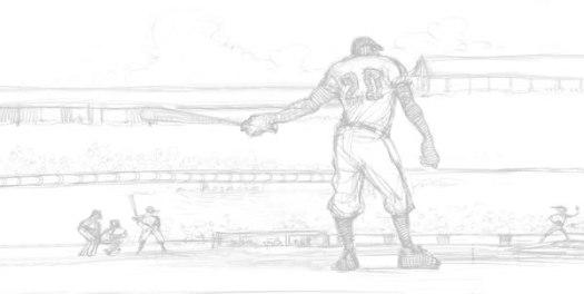 Mighty Josh Gibson pencil drawing