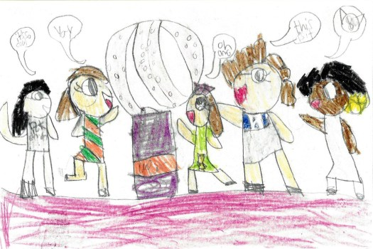 The image shows a children's drawing of five students surrounding one of the glass sculptures on display at FWMoA, Peter Bremers' Icebergs and Paraphernalia 219. Each student has a speech bubble exclaiming over the work. The excitement and delight at encountering the work is evident in their faces and body movements.