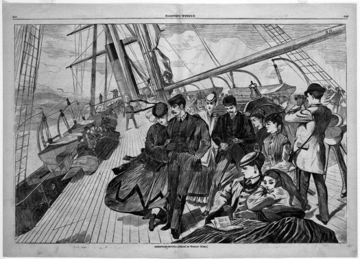 Passengers on a ship tilt to the left as the boat rises in the swells. Our view is of the tilted deck, with passengers lilting to the side as their hair ribbons blow in the wind.