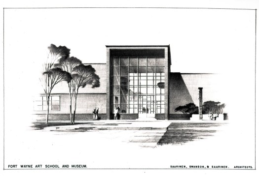 The drawing shows the museum building that was envisioned for Foster Park, with high ceilings and wide glass windows.