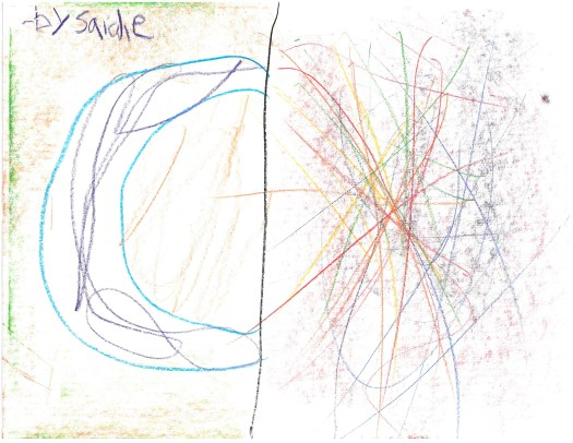 A children's drawing in the style of one of FWMoA's Archive artists, David Shaprio, shows a half circle on one side of the composition with many lines on the other in multiple colors.