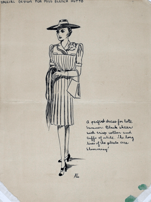 This sketch includes a woman in pleated dress with a flat hat, heels, and purse and wrap. The dress is pleated and includes a collar and flower pinned to the lapel.
