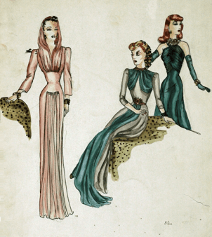 Three women are sketched in fashionable evening gowns. From left, a long pink, pleated gown with hood; a green dress with cut-outs and long sleeves, and a strapless emerald green dress with necklace and matching gloves.