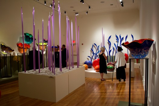 An exhibition shot of Dale Chihuly's exhibition at FWMoA in 2013 shows various glass pieces in multiple colors.