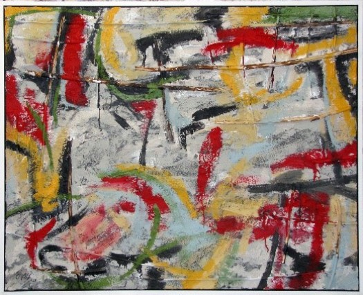 An abstract painting with a white background, yellow, green, red, and black marks are slashed across the canvas.