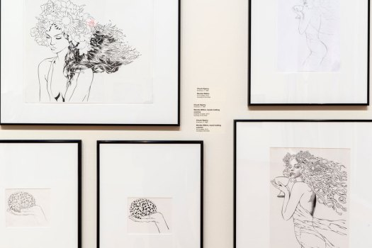 "The image shows various drawings for the completed works in Chuck Sperry's show, ""All Access"". These drawings were studies before creating the finished works."