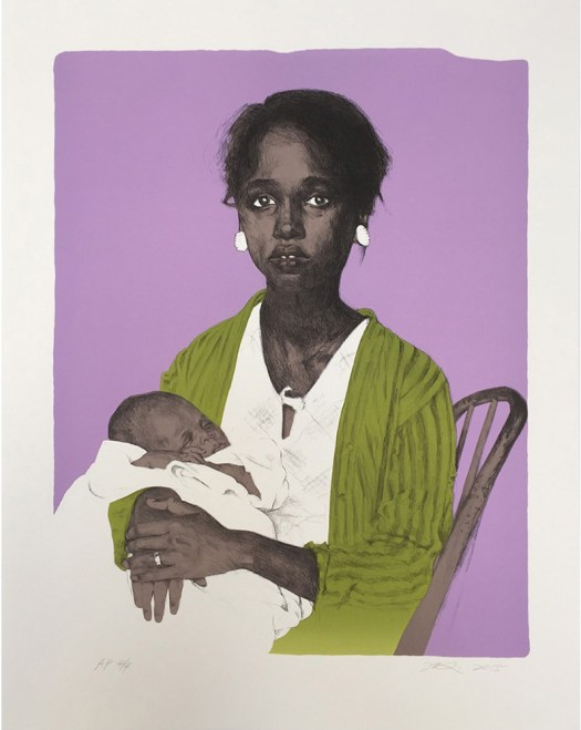 A black woman sits on a chair with her face and body turned toward the viewer holding her baby in her arms. She wears a white shirt and green sweater. Her baby, asleep, is wrapped in white fabric. The green sweater pops against the light purple background.