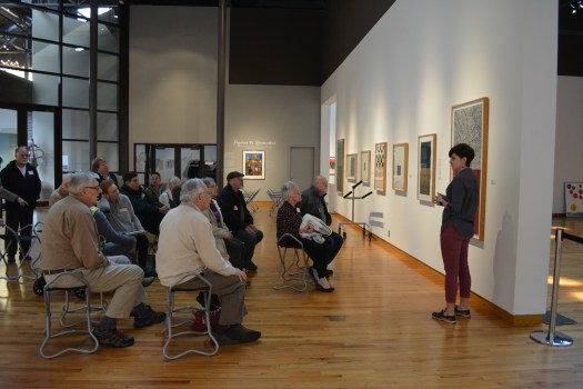 "Exhibitions Content Manager Elizabeth Goings conducts a ""Meet Me @ FWMoA"" tour in the gallery."