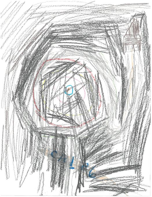 A child's drawing of a black composition with a spiral in the center in red and a blue bulls-eye.