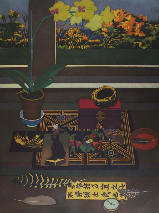 In this indoor scene, we see a table with a small tablecloth on it. Over top the tablecloth are layered postcards, a jewelry box, and a birds nest. Next to it is a potted plant and a feather laying in a dish. Outside the window, we can see plants and a blue sky.