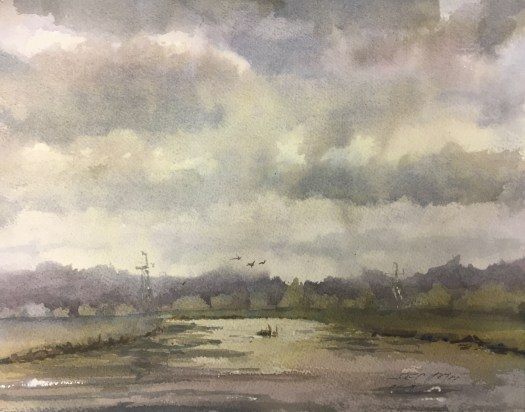 A painting of Eagle Marsh, a state park in Indiana. It shows the marsh, with two ducks in the background, against a cloudy, dark sky.