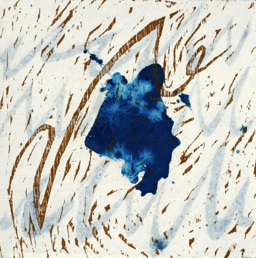 An abstract work featuring a large blue blob in the middle, with lines of gold around the canvas.