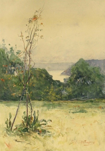 A watercolor landscape. In the distance, mountains and a river meet a hazy sky. In the foreground, grass and trees extend toward the river.