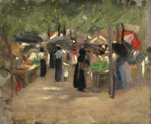 A painting of an outdoor market shows stalls and people. Women hold baskets and umbrellas, with trees masking the sky.