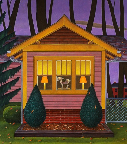 The finished, colorful painting of the sketch zooms in on a window in a house surrounded in the background by trees. The three windows show, left to right, a lamp and shade; a horse figurine; and the same lamp and shade. The windows are framed by two bushes outside.