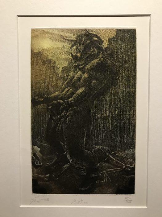 An etching of a Minotaur.
