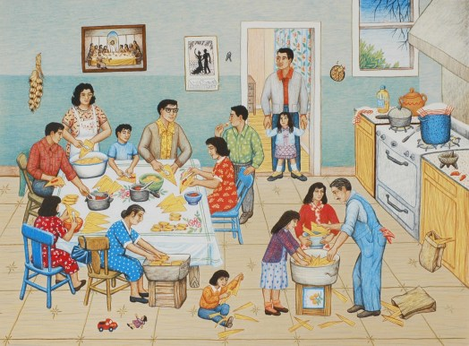 A Hispanic family gathers in their kitchen to make tamales. In the front, a man and two women shuck the tamales and soak the skins. Around the table, the multiple people have jobs from filling the tamales to placing them in the pan to put in the oven. In the doorframe stands a man with his daughter. On the wall hangs a painting of Jesus and the Last Supper.