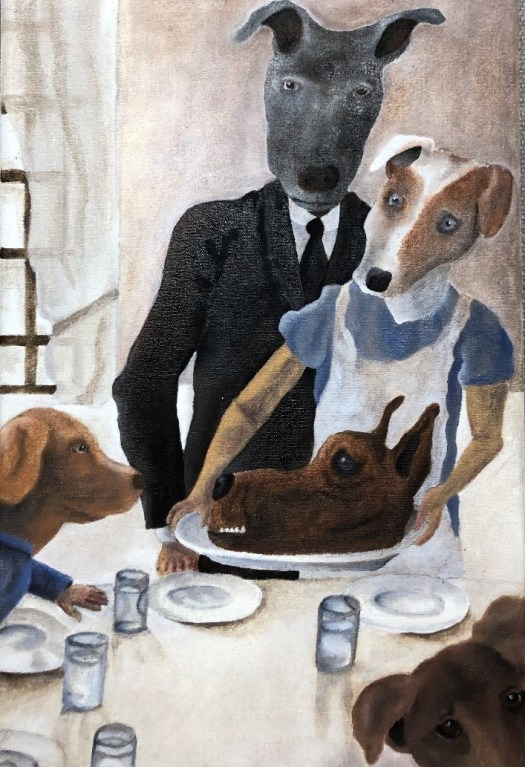 A play on Norman Rockwell, this version shows the family as dogs serving another dog's head.