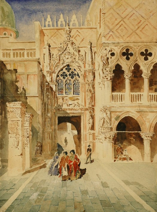 A watercolor of the Doges Palace shows the building with three women standing outside it and multiple figures in the background.