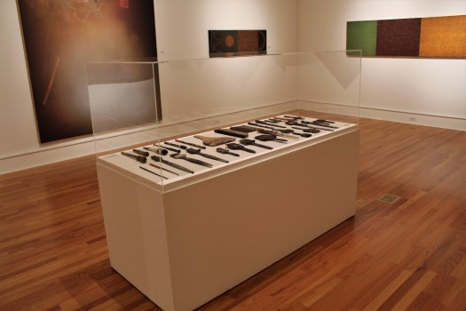 A photograph showing the display case of artist David Shapiro's paintbrushes, of multiple shapes and sizes and some he made himself.