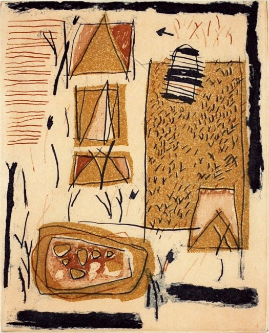 An abstract print that suggests a landscape, with a farm and crops, tents, and a table.