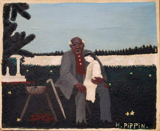 Horace Pippin's painting features an African American man sitting on a cut log bench in a glade with yellow flowers. He holds a White child on his lap, and trees and a blue sky cover the background. The artists signature is in the bottom right hand corner. The paint is thick, each brushstroke evident on the canvas.