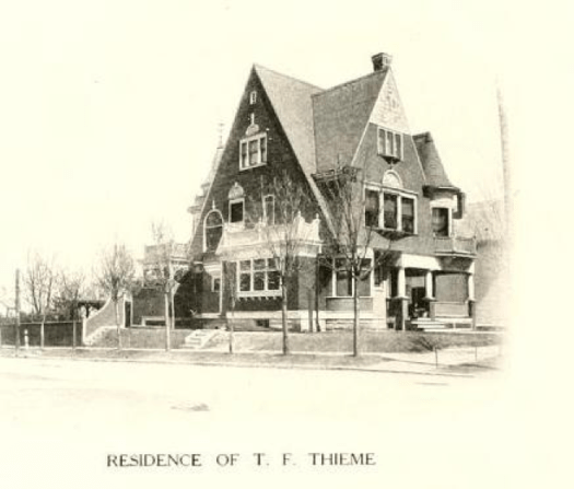 This drawing shows the residence of Theodore Thieme at Rockhill and Berry in Fort Wayne. The Queen Anne style building housed the Art School from 1920 to 1991.