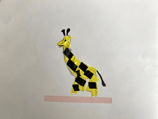 A giraffe made out of black and white cut tape and black paint stick on a white background.