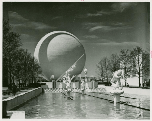 A photo of Paul Manship's sculptures in the reflecting pool.