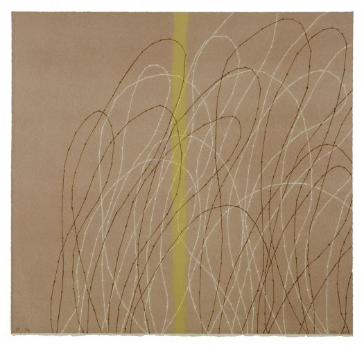This lithograph is busy. A light, highlighter-like mark vertically bisects the print. A light brown background, stitched brown and white lines loop through the print, overlapping the yellow line.