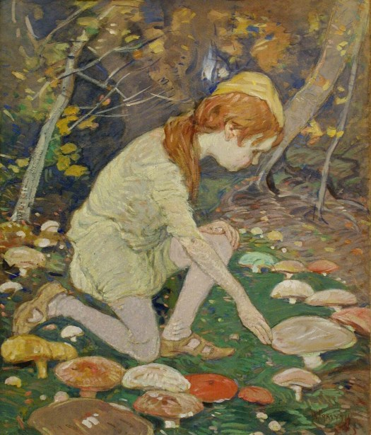 "A child kneels in a forest in the middle of a ""fairy ring"", or ring of mushrooms. Their orange hair, hidden partially beneath a cap, falls across their shoulder as they move one hand downward to touch a large mushroom cap. The work is dark, with the multiple mushrooms providing the most color."