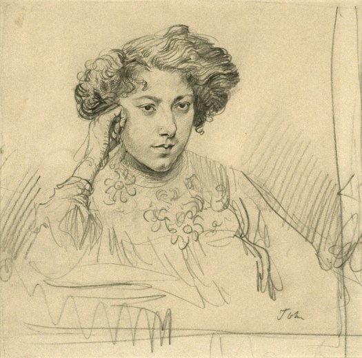 A sketchy pencil drawing on paper shows a woman with her head leaning on her closed right fist. She looks off to the side of the viewer, her face and hair completely finished. As we move down from her neck, the sketch is incomplete, with just the outlines of her dress discernible. There is no background.