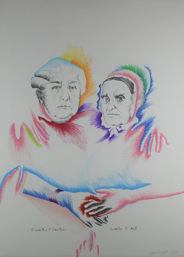 This gestural, lithographic drawing is a dual portrait of prominent suffragettes Elizabeth Cady Standton and Lucretia Mott. Their faces are completed and they hold hands while the rest of their bodies are left opaque. There are floating hands resting on their shoulders.