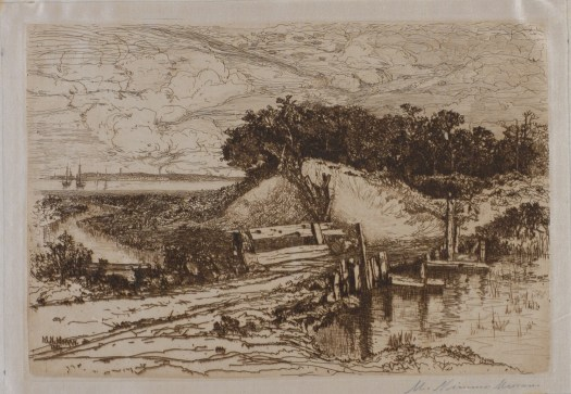 A landscape shows Gardiner's Bay, Long Island. In the background, the ocean melds into the moving clouds and shows a few boats. In the fore, a river disappears around a bend with trees on a hillside disappearing from view.