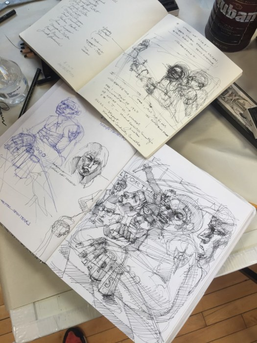 A photo of the artists sketchbook shows sketches for some of the works highlighted in this post.