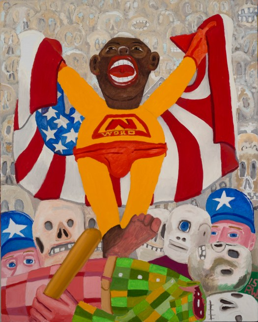 """A Black man, standing atop a dead man with a bat, wears a superhero costume emblazoned with """"N-Word"""" across his chest and an American flag as his cape. Beneath him are two cops and the background is made up of various faces."""