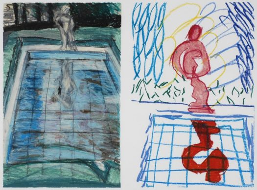 A diptych, or a single work comprised of two panels, Bartlett's oil pastel shows a garden with dark trees in the background. Most of the composition is of a pool with a figural statue at the end and grass around the edges. The statue is reflected in the pool in water. On the right, this landscape is abstracted into fewer lines, making the statue more prominent but maintaining the main parts of the work--the statue, the pool, and the reflection of the statue in the pool.