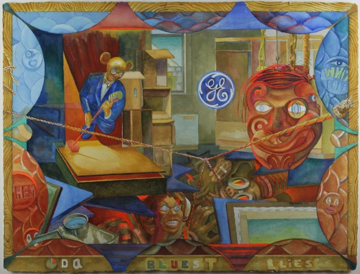 An abstracted figurative watercolor that includes the GE symbol, an African tribal mask, an angry Black woman, and a man singing into a microphone in an office room with a view of a stone building outside the window.