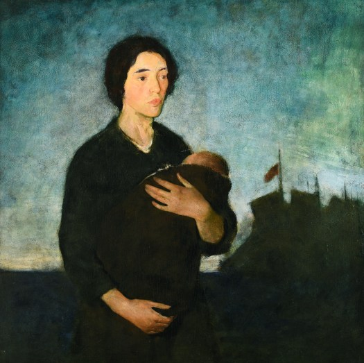 A painting of a pale woman in black with her arms wrapped around and supporting a baby swaddled in black, stares off the edge of the painting. Her pursed lips and furrowed brow suggests sadness. Behind her, an American flag flies against a dark, stormy background.