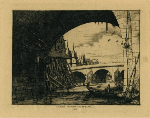 An etching of the arch by the Notre Dame bridge. The city is off in the distance, and in the front is the river Seine with boatmen. They are working on the bridge, and the right corner of the work shows a man using rope to scale the side of the bridge. In the back is scaffolding.