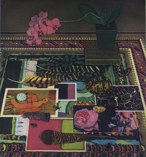 A still life of a table scattered with bird feathers and postcards of paintings atop a patterned tablecloth. In the back, a pink flower in a pot, that sits atop a book, wilts.